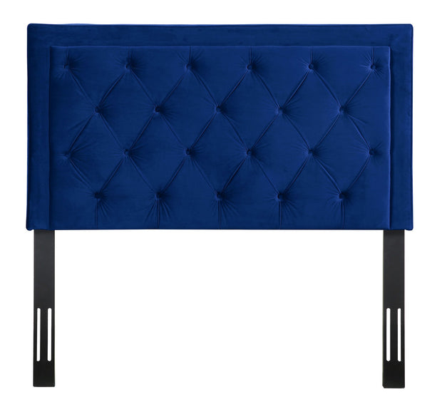 Nacht Full Headboard in Navy Velvet from the Nacht Collection  made from Velvet, Wood, Metal in Navy featuring Handmade headboard has to be attached to a standard bed frame - not included and Includes button-tufted headboard only
