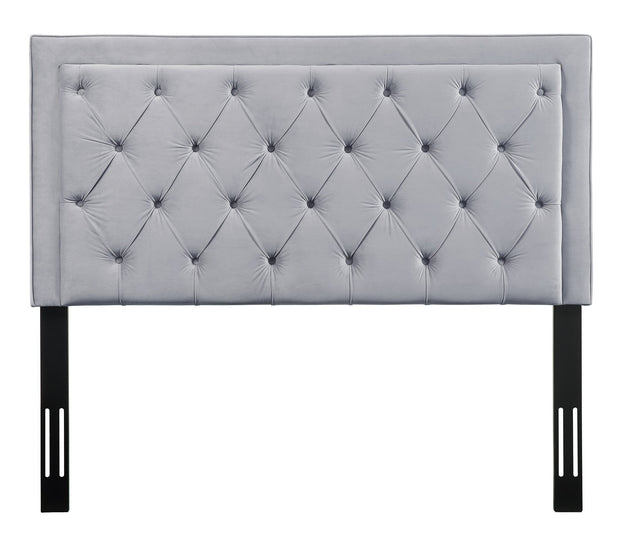 Nacht Queen Headboard in Grey Velvet from the Nacht Collection  made from Velvet, Wood, Metal in Grey featuring Handmade headboard has to be attached to a standard bed frame - not included and Includes button-tufted headboard only