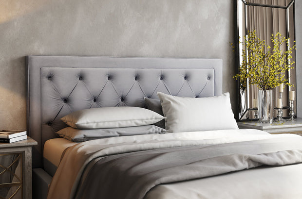 Nacht Full Headboard in Grey Velvet