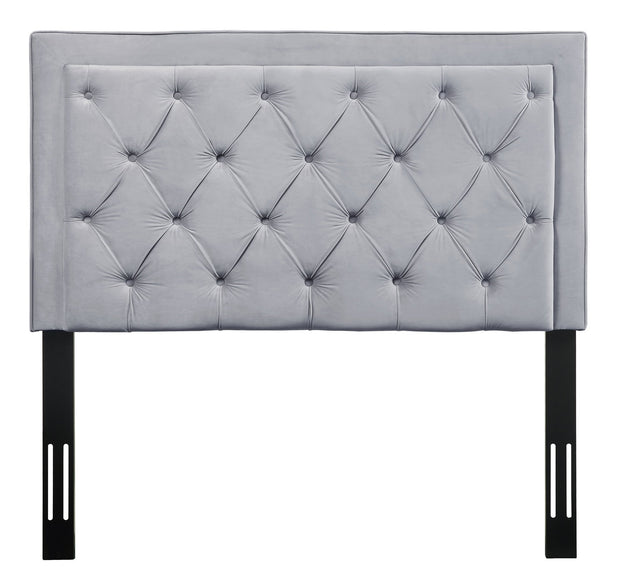 Nacht Twin Headboard in Grey Velvet from the Nacht Collection  made from Velvet, Wood, Metal in Grey featuring Handmade headboard has to be attached to a standard bed frame - not included and Includes button-tufted headboard only