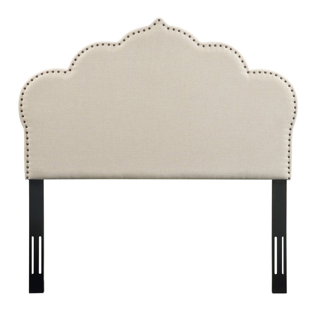 Noches Twin Headboard in Beige Linen from the Noches Collection  made from Velvet, Wood, Metal in Beige featuring Headboard has to be attached to a standard bed frame - not included and Individually hand-applied bronze nail heads