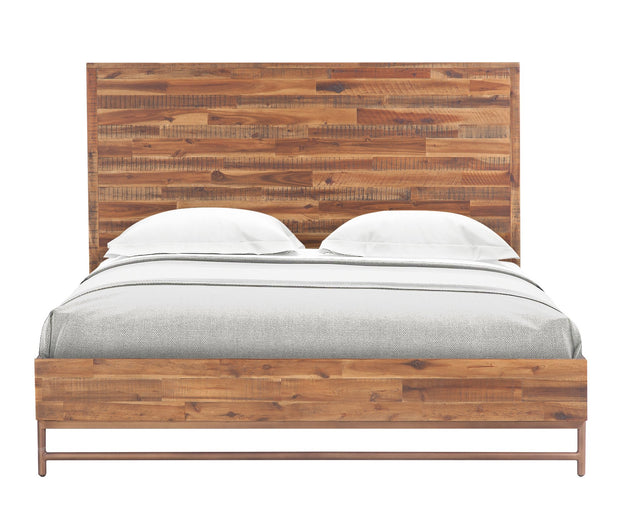Bushwick Wooden Queen Bed from the Bushwick Collection  made from Acacia Wood, Metal, Acacia Veneer in Brown featuring Crafted from rustic Acacia wood and veneers and Brass colored metal legs