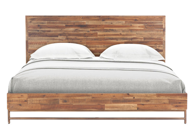 Bushwick Wooden King Bed from the Bushwick Collection  made from Acacia Wood, Metal, Acacia Veneer in Brown featuring Crafted from rustic Acacia wood and veneers and Brass colored metal legs