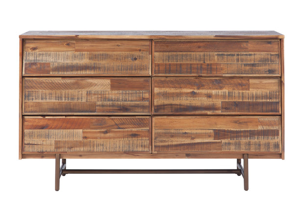 Bushwick Wooden 6 Drawer Dresser from the Bushwick Collection  made from Acacia Wood, Metal, Acacia Veneer in Brown featuring Crafted from rustic Acacia wood and veneers and 6 Drawers provide ample storage options