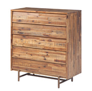 Bushwick Wooden 5 Drawer Chest from the Bushwick Collection  made from Acacia Wood, Metal, Acacia Veneer in Brown featuring Crafted from rustic Acacia wood and veneers and 5 Drawers provide ample storage options
