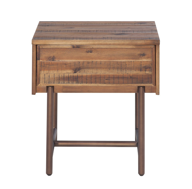 Bushwick Wooden Nightstand from the Bushwick Collection  made from Acacia Wood, Metal, Acacia Veneer in Brown featuring Crafted from rustic Acacia wood and veneers and Brass colored metal legs