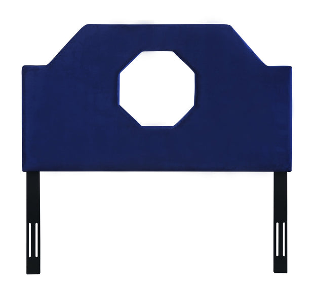 Noctis King Headboard in Navy Velvet from the Noctis Collection  made from Velvet, Wood, Metal in Navy featuring Handmade headboard has to be attached to a standard bed frame - not included and Sumptuous velvet upholstery