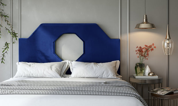 Noctis Full Headboard in Navy Velvet