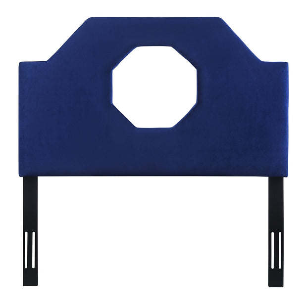 Noctis Twin Headboard in Navy Velvet from the Noctis Collection  made from Velvet, Wood, Metal in Navy featuring Handmade headboard has to be attached to a standard bed frame - not included and Sumptuous velvet upholstery