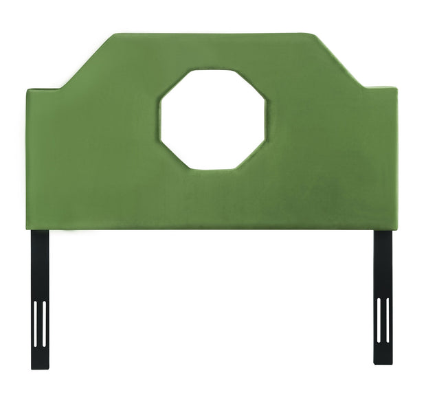 Noctis Queen Headboard in Green Velvet from the Noctis Collection  made from Velvet, Wood, Metal in Green featuring Handmade headboard has to be attached to a standard bed frame - not included and Includes headboard only