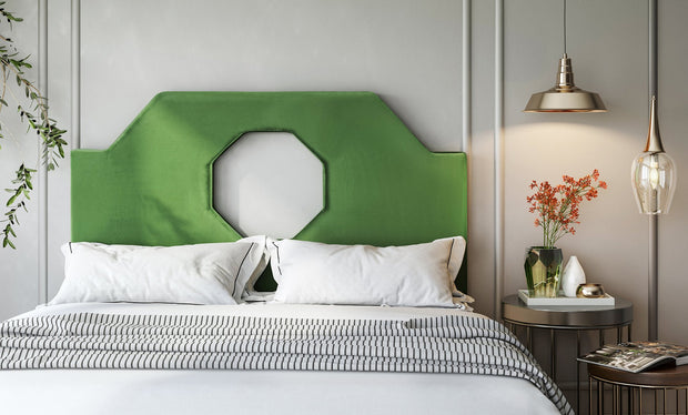 Noctis Full Headboard in Green Velvet