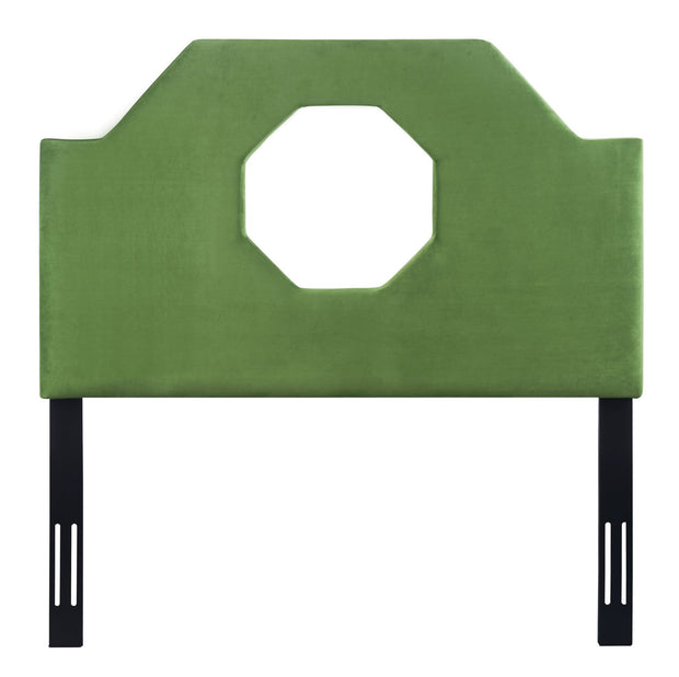 Noctis Twin Headboard in Green Velvet from the Noctis Collection  made from Velvet, Wood, Metal in Green featuring Handmade headboard has to be attached to a standard bed frame - not included and Includes headboard only