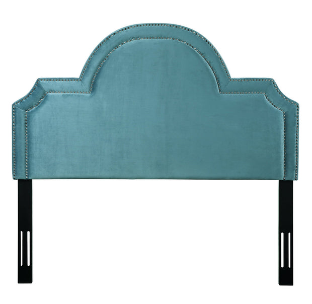 Laylah Queen Headboard in Sea Blue Velvet from the Laylah Collection  made from Velvet, Wood, Metal in Sea Blue featuring Headboard has to be attached to a standard bed frame - not included and Handmade with individually hand-applied bronze nail heads