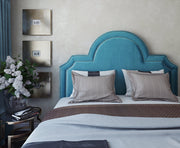 Laylah Queen Headboard in Sea Blue Velvet