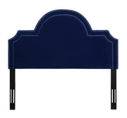 Laylah Queen Headboard in Pebbled Velvet from the Laylah Collection  made from Velvet, Wood, Metal in Navy featuring Headboard has to be attached to a standard bed frame - not included and Handmade with individually hand-applied silver nail heads