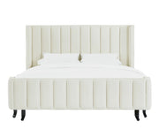 Waverly Cream Velvet Bed in Queen from the Waverly Collection  made from Velvet, Wood in Cream featuring Channel tufted headboard with sumptuous velvet upholstery and Handmade by skilled furniture craftsmen