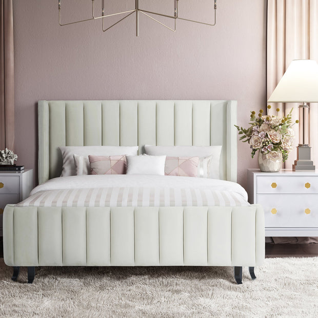 Waverly Cream Velvet Bed in Queen