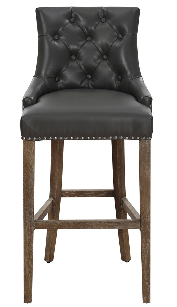 Uptown Grey Barstool from the Uptown Collection  made from Vegan Leather in Grey featuring Hand-applied silver nail head trim and Reclaimed Oak legs on a wooden frame