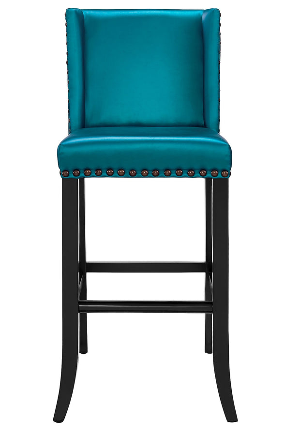 Denver Blue Bar Stool from the Denver Collection  made from Vegan Leather, Birch in Blue featuring Individually hand-applied bronze nailheads and Solid kiln dried wood frame