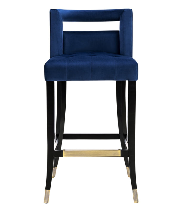 Hart Navy Velvet Bar Stool from the Hart Collection  made from Velvet, Birch in Navy featuring Handmade by skilled furniture craftsmen and Individually hand-applied bronze nailheads
