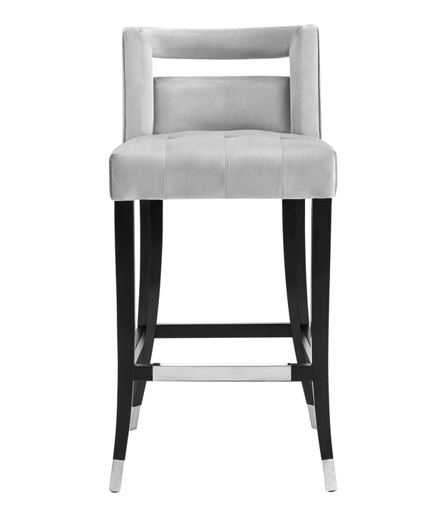 Hart Grey Velvet Bar Stool from the Hart Collection  made from Velvet, Birch in Grey featuring Handmade by skilled furniture craftsmen and Individually hand-applied silver nailheads