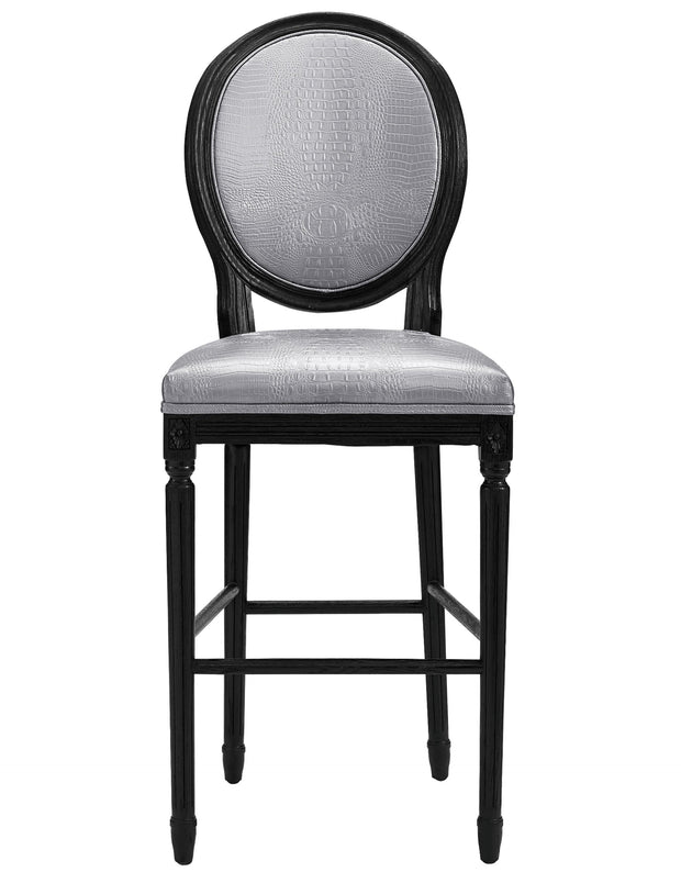 Philip Silver Croc Barstool from the Philip Collection  made from Vegan Leather/Oak in Silver featuring Handmade by skilled furniture craftsmen and Solid Oak frame