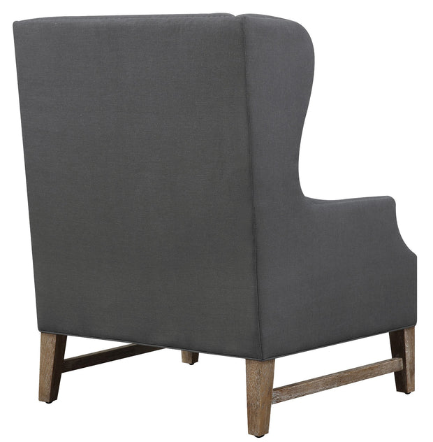 Devon Grey Linen Wing Chair