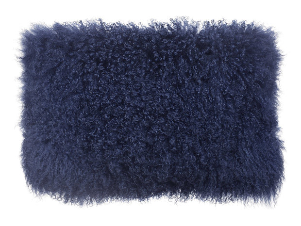 Tibetan Sheep Long Blue Pillow from the Moody Collection  made from Sheepskin in Blue featuring Made from real Tibetan sheep fur and Available in various colors and sizes