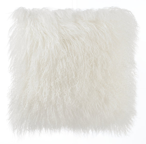Tibetan Sheep Pillow from the Moody Collection  made from Sheepskin in White featuring Made from real Tibetan sheep fur and Available in various colors and sizes