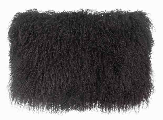 Tibetan Sheep Dark Grey Long Pillow from the Moody Collection  made from Sheepskin in Grey featuring Made from real Tibetan sheep fur and Available in various colors and sizes