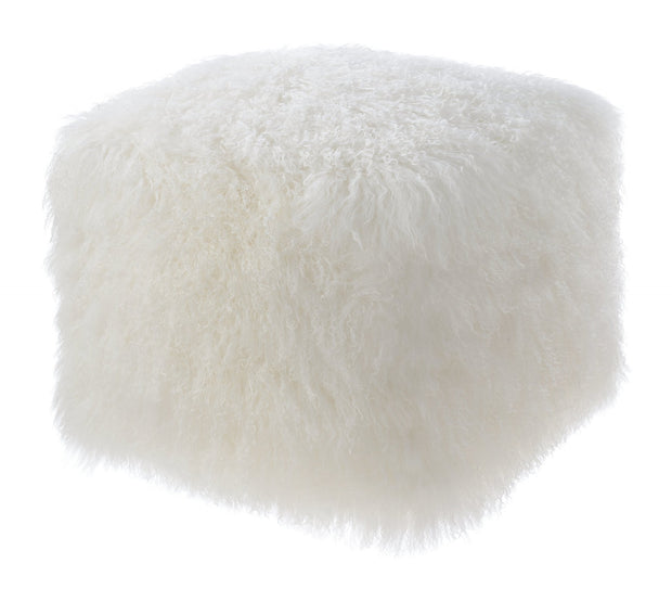 Tibetan Sheep White Pouf from the Moody Collection  made from Sheepskin in White featuring Made from real Tibetan sheep fur and Can be used as a seat or ottoman