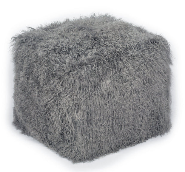 Tibetan Sheep Grey Pouf from the Moody Collection  made from Sheepskin in White featuring Made from real Tibetan sheep fur and Can be used as a seat or ottoman