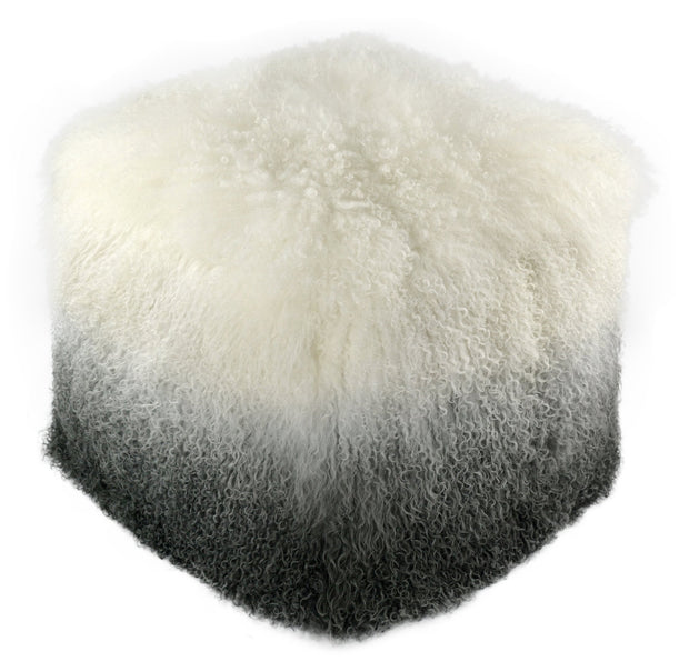 Tibetan Sheep White to Grey Pouf from the Moody Collection  made from Sheepskin in White, Grey featuring Made from real Tibetan sheep fur and Can be used as a seat or ottoman
