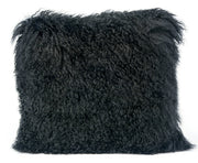 Tibetan Sheep Black Pillow from the Moody Collection  made from Sheepskin in Black featuring Made from real Tibetan sheep fur and Available in various colors and sizes