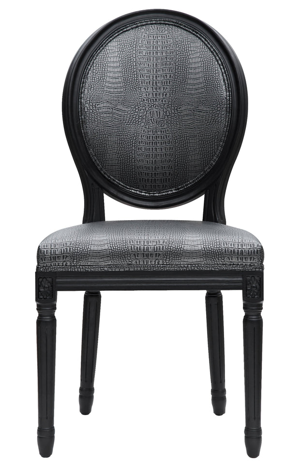 Philip Croc Dining Chair  from the Philip Collection  made from Vegan Leather/Oak in Graphite Metallic featuring Handmade by skilled furniture craftsmen and Solid Oak frame