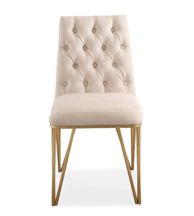 Lexi Cream Textured Velvet Dining Chair (Set of 2) from the Lexi Collection  made from Velvet, Stainless Steel in Cream, Gold featuring Sumptuous textured velvet upholstery and Button tufted seat back