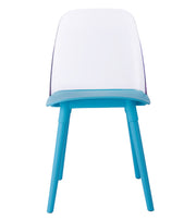 Pasha Blue Acrylic Chair (Set of 2) from the Pasha Collection  made from Lucite, PP, Beech Wood in Blue featuring Easy wipe clean surface and Materials: Lucite, Beech Wood, Polypropylene