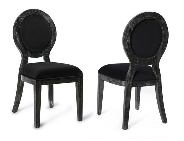 Cerused Oak Black Chair - Set of 2