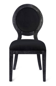 Cerused Oak Black Chair - Set of 2 from the Cerused Collection  made from Oak, Velvet in Black featuring Completely handmade by skilled furniture artisans and Solid Oak frame with pronounced white grain finish