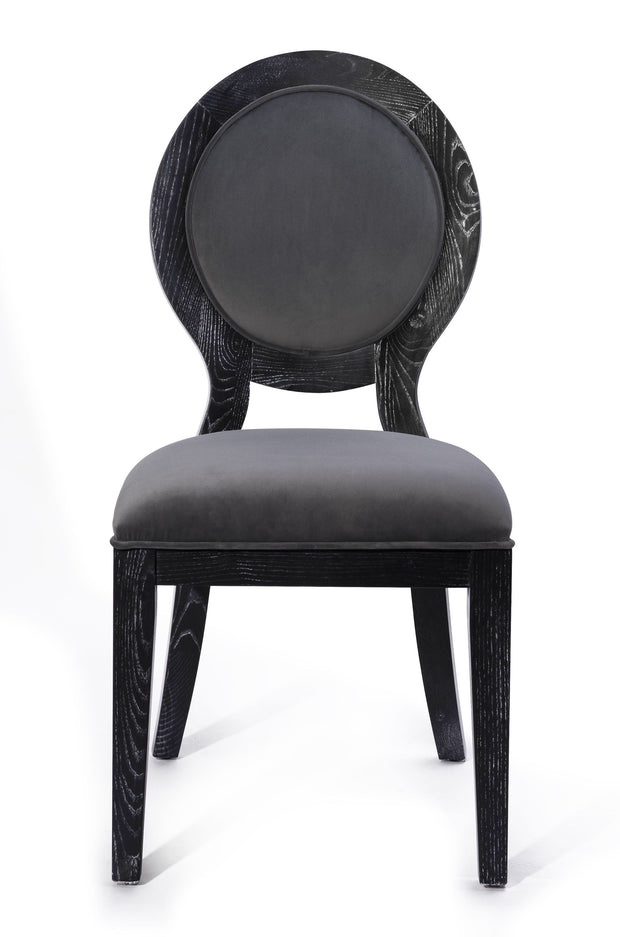 Cerused Oak Grey Chair - Set of 2 from the Cerused Collection  made from Oak, Velvet in Grey, Black featuring Completely handmade by skilled furniture artisans and Solid Oak frame with pronounced white grain finish
