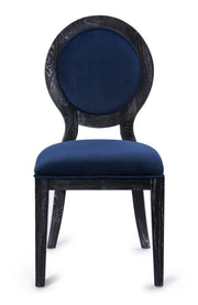 Cerused Oak Navy Chair - Set of 2 from the Cerused Collection  made from Oak, Velvet in Navy, Black featuring Completely handmade by skilled furniture artisans and Solid Oak frame with pronounced white grain finish