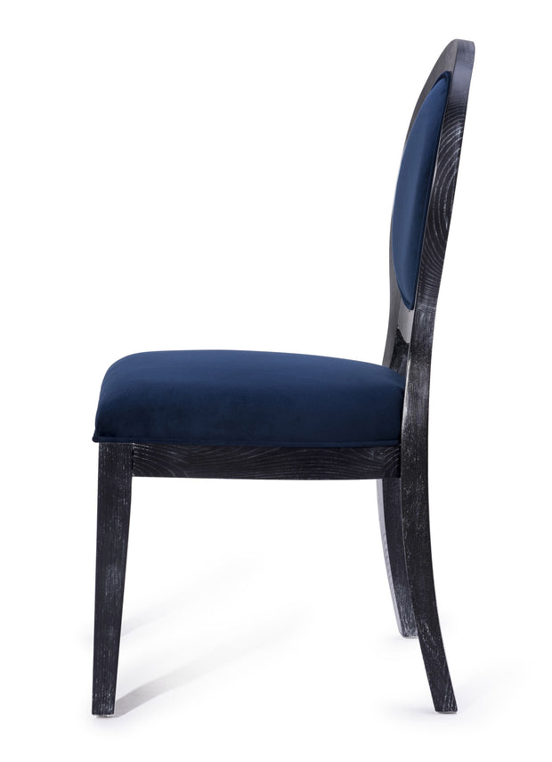 Cerused Oak Navy Chair - Set of 2