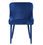Draco Navy Velvet Chair from the Draco Collection  made from Steel, Velvet in Navy featuring Handmade by skilled furniture craftsmen and Steel upholstered legs
