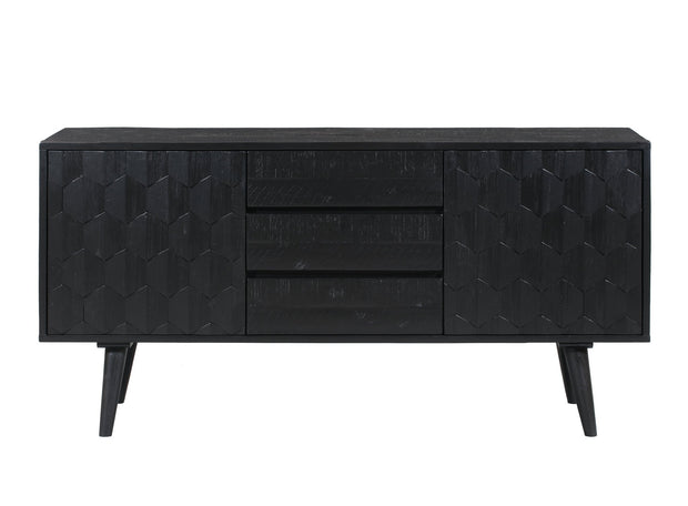 Valentina Black Buffet from the Valentina Collection  made from Solid Acacia, MDF, Acacia veneer in Rubbed Black featuring Handmade by skilled furniture craftsmen and Luxe Hollywood glam design