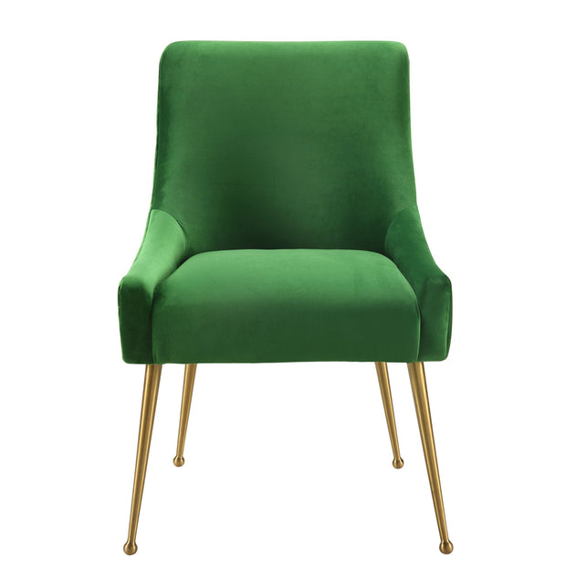 Beatrix Green Velvet Side Chair from the Beatrix Collection  made from Velvet, Wood, Stainless Steel in Green featuring Handmade elegantly curved design and Durable yet sumptuous velvet upholstery