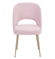 Swell Blush Velvet Chair from the Swell Collection  made from Velvet, Stainless Steel in Blush, Gold featuring Handmade by skilled furniture craftsmen and Stainless Steel Gold Legs