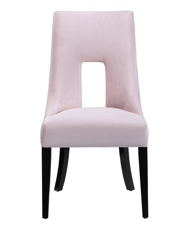 Lipstick Blush Velvet Dining Chair from the Lipstick Collection  made from Wood, Velvet in Blush featuring Handmade by skilled furniture craftsmen and Stylish tall back and dark wood legs