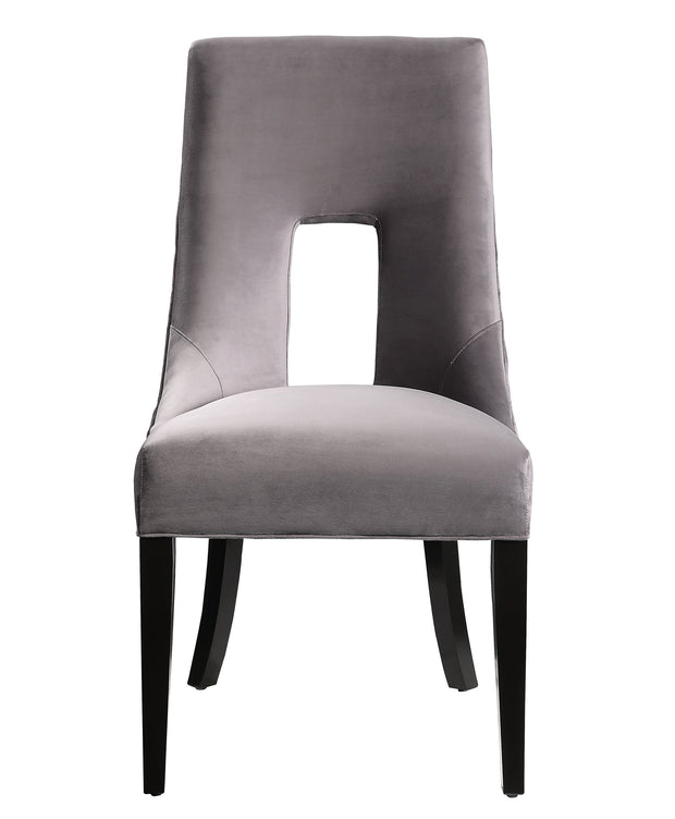Lipstick Grey Velvet Dining Chair from the Lipstick Collection  made from Wood, Velvet in Grey featuring Handmade by skilled furniture craftsmen and Stylish tall back and dark wood legs