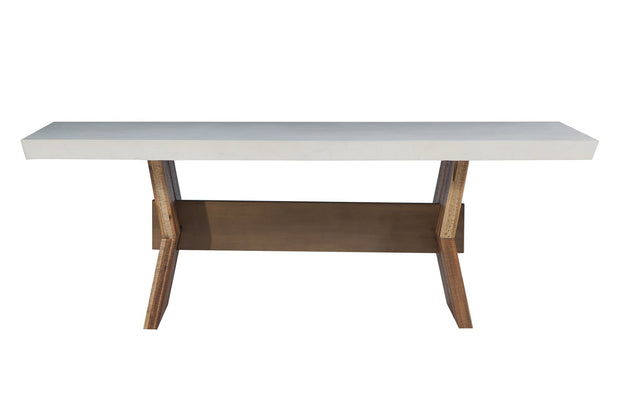 Astoria White Concrete Table from the Astoria Collection  made from Concrete, Acacia, Steel in White, Brown, Brass featuring Handmade by skilled furniture craftsmen and The concrete top is hand finished and available in dark grey or white
