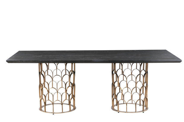 Gatsby Wood Dining Table from the Gatsby Collection  made from Acacia, Steel in  featuring Handmade by skilled furniture craftsmen and Luxe Hollywood glam design